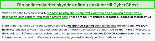 Skärmdump av CyberGhost VPN sekretesspolicy på sin webbplats