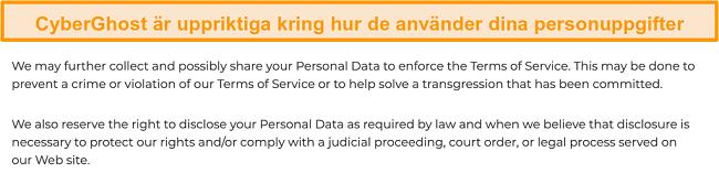 Skärmdump av CyberGhosts integritetspolicy på sin webbplats som anger att VPN samlar in vissa personuppgifter