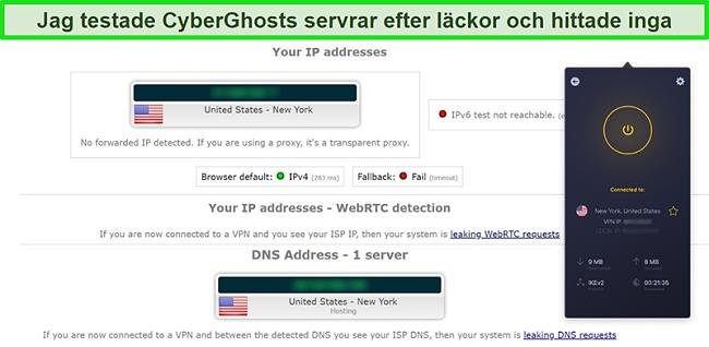 Skärmdump av CyberGhost VPN ansluten till en amerikansk server och klarat ett IP-läckagetest