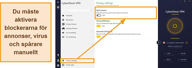 Skärmdump av CyberGhost VPN: s annons-, tracker- och malwareblockerare