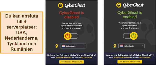 Skärmdump av webbläsartillägget CyberGhost VPN