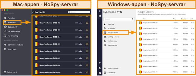 Skärmdump av CyberGhost VPNs NoSpy-servrar på Windows versus Mac-appen