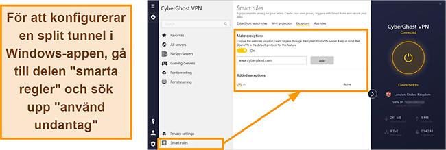 Skärmdump av CyberGhost VPN: s Smart Rules Whitelister-funktion