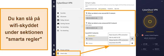 Skärmdump av CyberGhost VPNs WiFi-skyddsfunktion