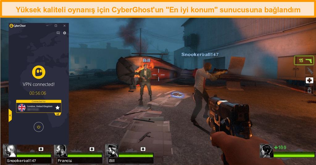 İngiltere sunucusuna bağlı CyberGhost ile oynayan Left 4 Dead 2'nin ekran görüntüsü
