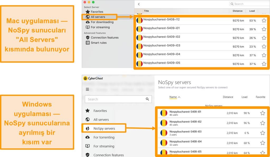 Windows ve Mac uygulamalarındaki CyberGhost VPN NoSpy sunucularının ekran görüntüsü
