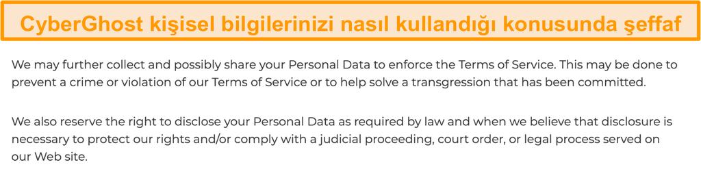 CyberGhost'un web sitesinde VPN'nin bazı kişisel veriler topladığını belirten gizlilik politikasının ekran görüntüsü