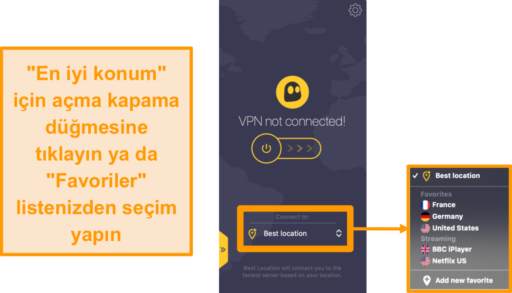 CyberGhost VPN hızlı bağlantı ekran görüntüsü Mac uygulamasında