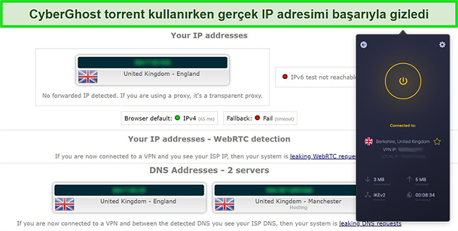 Bir İngiltere sunucusuna bağlı ve bir IP sızıntı testini başarıyla geçen CyberGhost VPN'in ekran görüntüsü