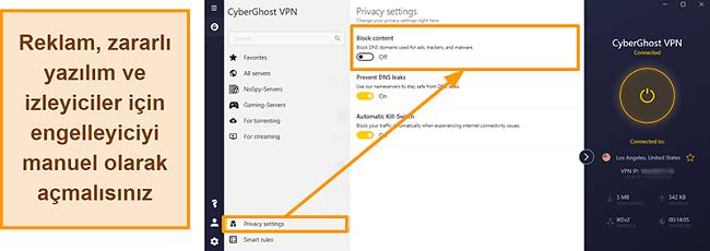 CyberGhost VPN'in reklam, izleyici ve kötü amaçlı yazılım engelleyicisinin ekran görüntüsü