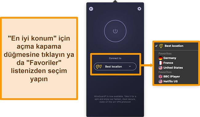 Uygulamadaki CyberGhost VPN'in En İyi Konum özelliğinin ekran görüntüsü