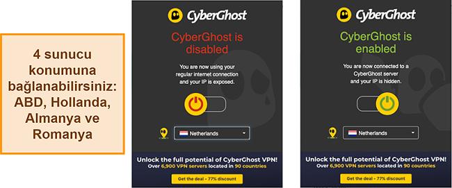 CyberGhost VPN tarayıcı uzantısının ekran görüntüsü