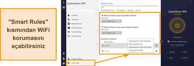 CyberGhost VPN'in WiFi Koruma özelliğinin ekran görüntüsü