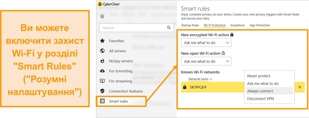 Знімок екрану функції захисту CyberGhost WiFi