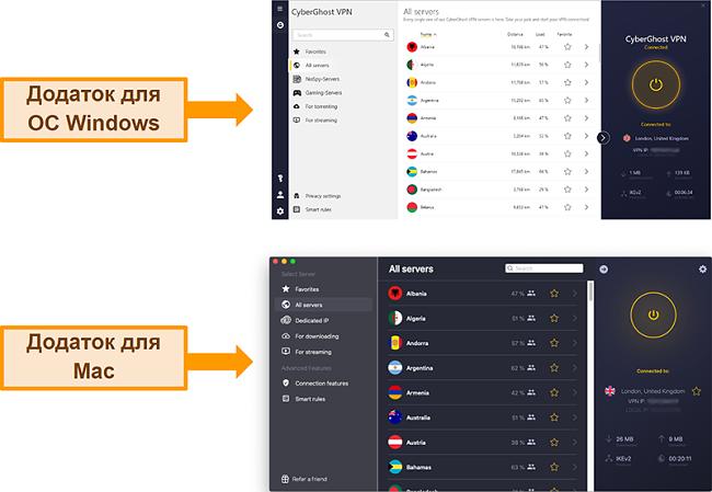 Знімок екрана програми CyberGhost VPN у Windows проти Mac