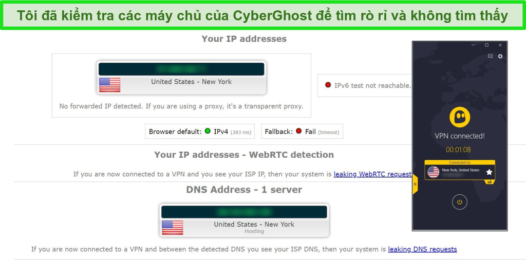 Ảnh chụp màn hình kết quả kiểm tra rò rỉ IP và DNS với CyberGhost được kết nối với máy chủ Hoa Kỳ