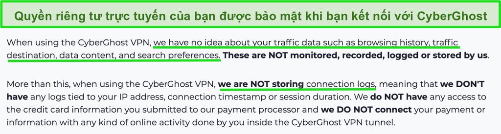 Ảnh chụp màn hình tuyên bố về quyền riêng tư của CyberGhost VPN trên trang web của nó
