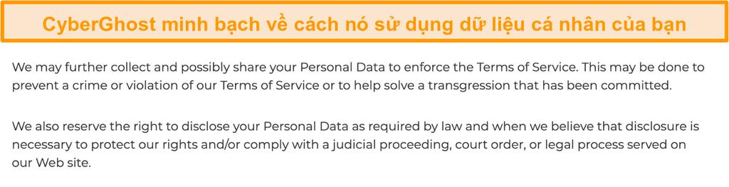 Ảnh chụp màn hình chính sách bảo mật của CyberGhost trên trang web của nó cho biết rằng VPN có thu thập một số dữ liệu cá nhân