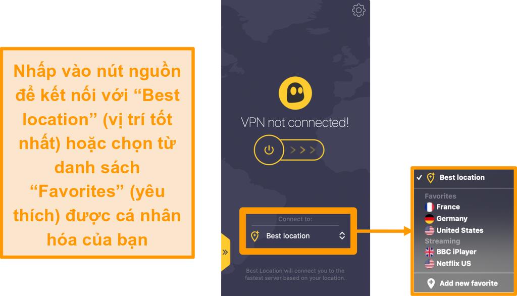 Ảnh chụp màn hình của CyberGhost VPN kết nối nhanh nút
