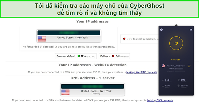 Ảnh chụp màn hình của CyberGhost VPN được kết nối với máy chủ Hoa Kỳ và vượt qua thành công bài kiểm tra rò rỉ IP