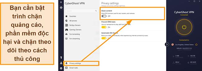 Ảnh chụp màn hình của trình chặn quảng cáo, trình theo dõi và phần mềm độc hại của CyberGhost VPN