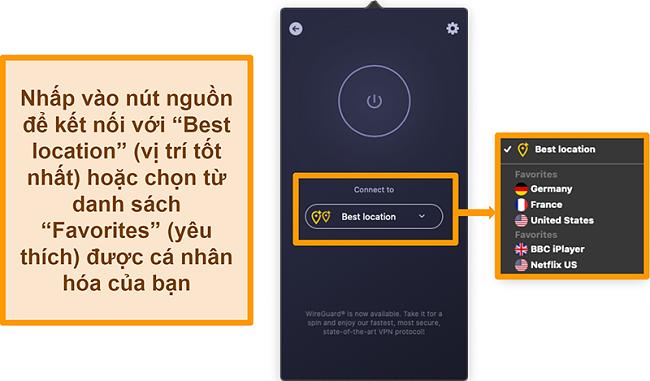 Ảnh chụp màn hình tính năng Vị trí tốt nhất của CyberGhost VPN trên ứng dụng