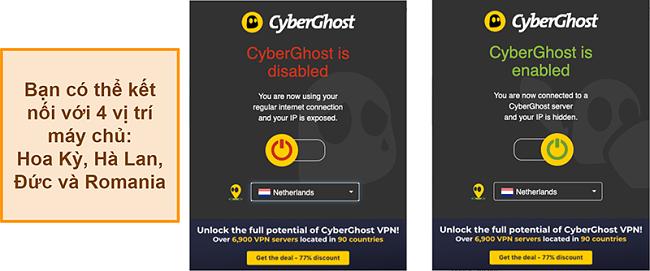 Ảnh chụp màn hình của tiện ích mở rộng trình duyệt CyberGhost VPN