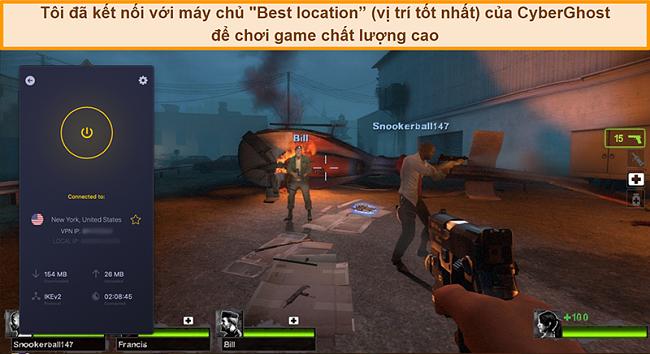 Ảnh chụp màn hình của người dùng được kết nối với máy chủ của CyberGhost VPN tại Hoa Kỳ khi chơi trò chơi trực tuyến