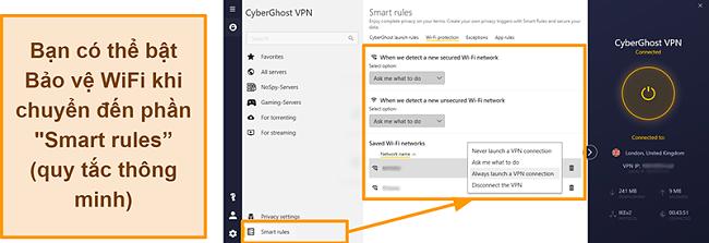 Ảnh chụp màn hình tính năng Bảo vệ WiFi của CyberGhost VPN