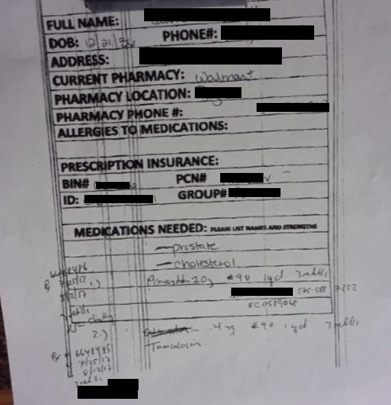 Screenshot of private patient information for drug prescriptions data leak from VScript company
