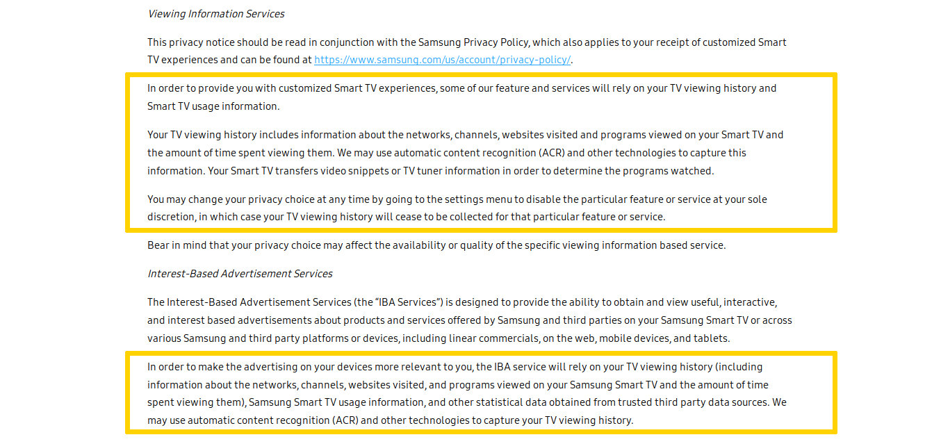 Screenshot of Samsung smart TV privacy policy
