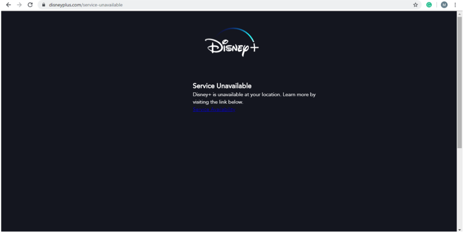 disney plus service unavailable error message