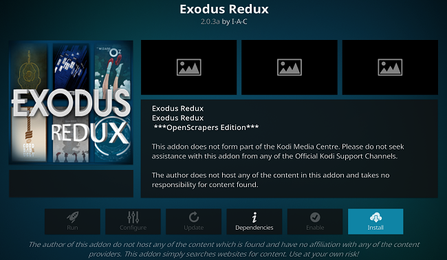 KodiアプリアドオンのスクリーンショットExodusアンインストール