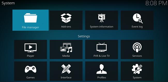 Kodiアプリファイルマネージャーのスクリーンショット