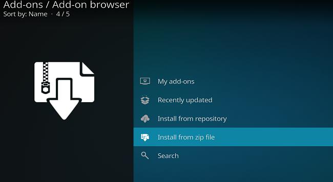 zipファイルからインストールされたKodiアプリアドオンのスクリーンショット