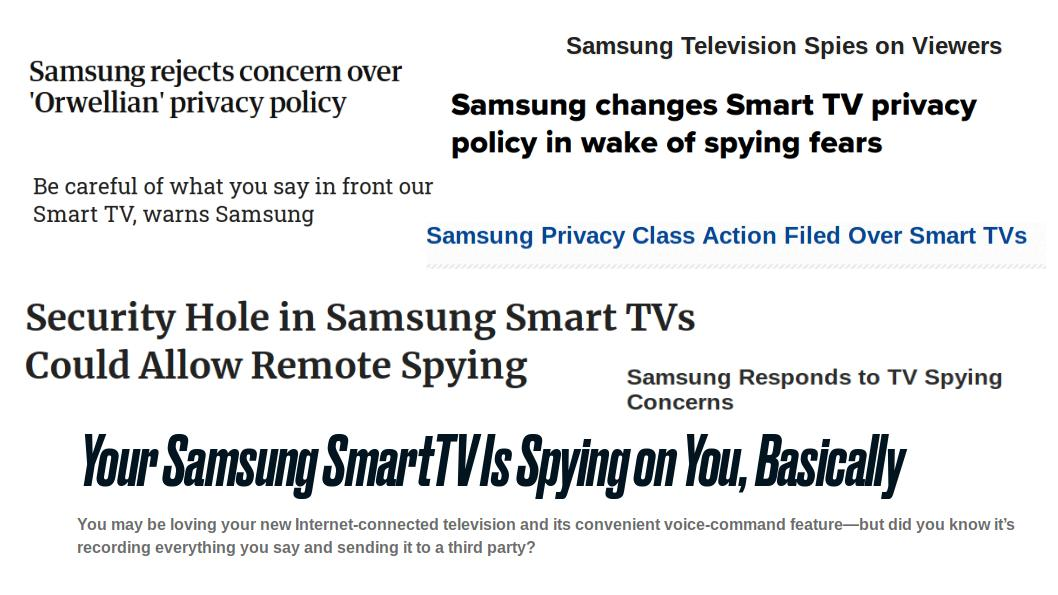 Screenshot of warning headlines about ways on how Samsung Smart TV is spying on its users