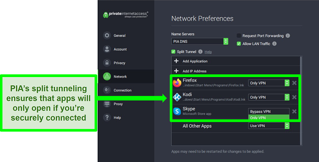 Screenshot of PIA's Network Settings screen with split tunneling filters activated