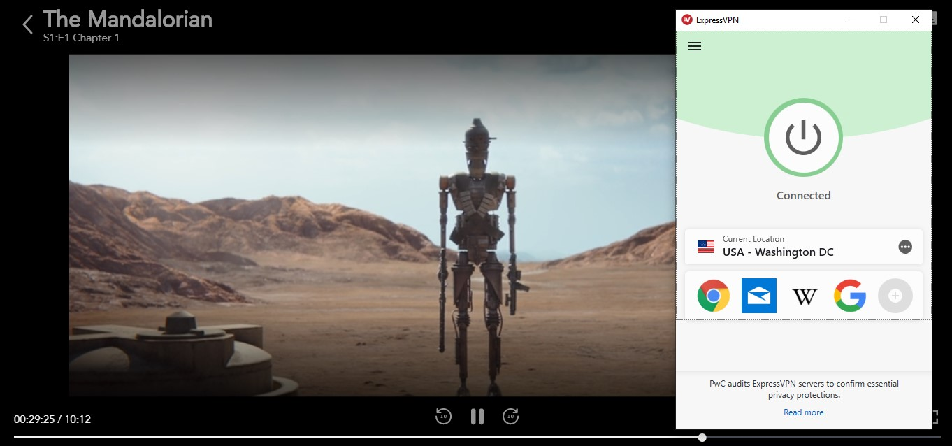 screenshots of the mandalorian playing on disney plus with expressvpn