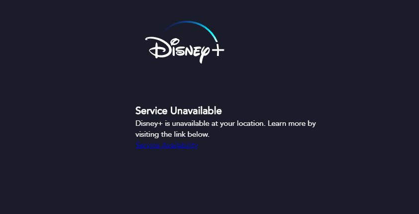 Disney Plus service unavailable message that appears when you try to access it from outside of a Disney Plus location.