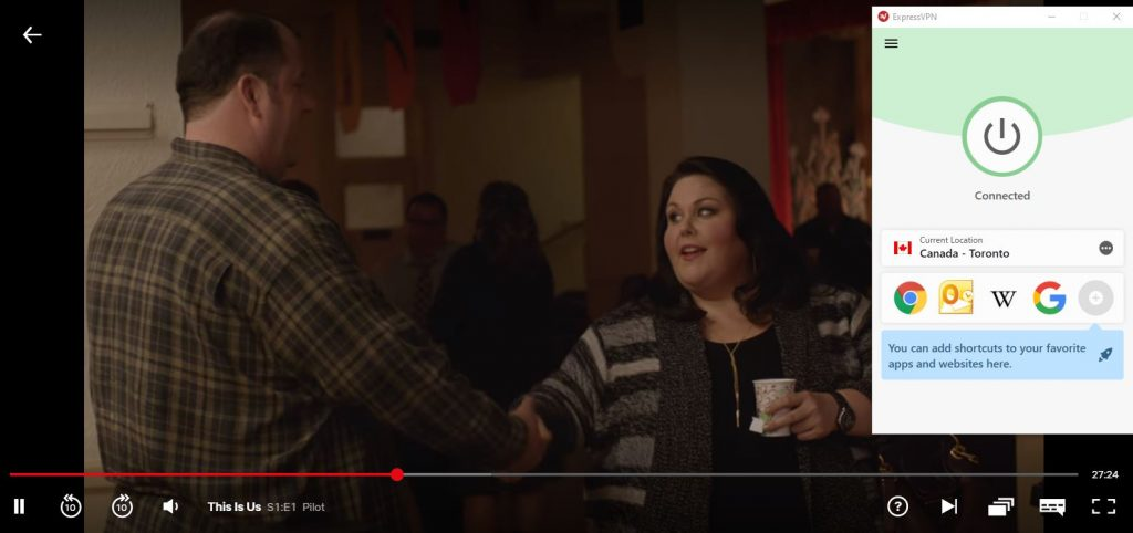 screenshot of this is us season 1 playing on netflix with expressvpn connected