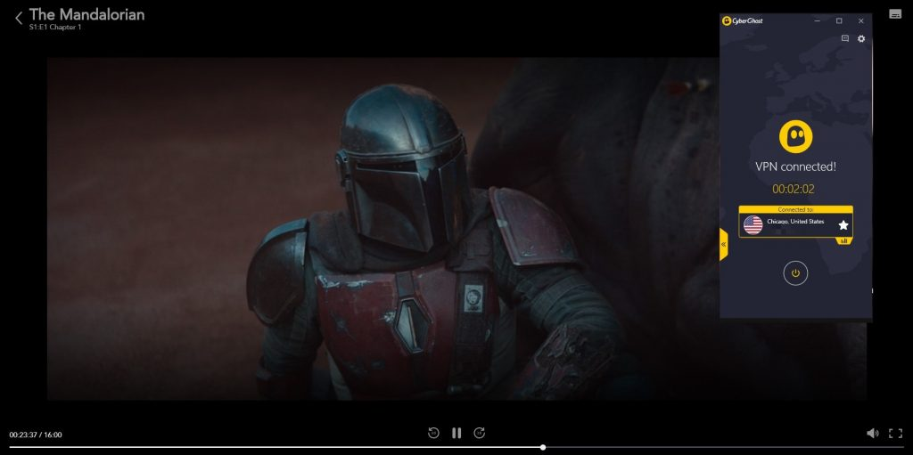 screenshot of the mandalorian playing on disney plus with cyberghost