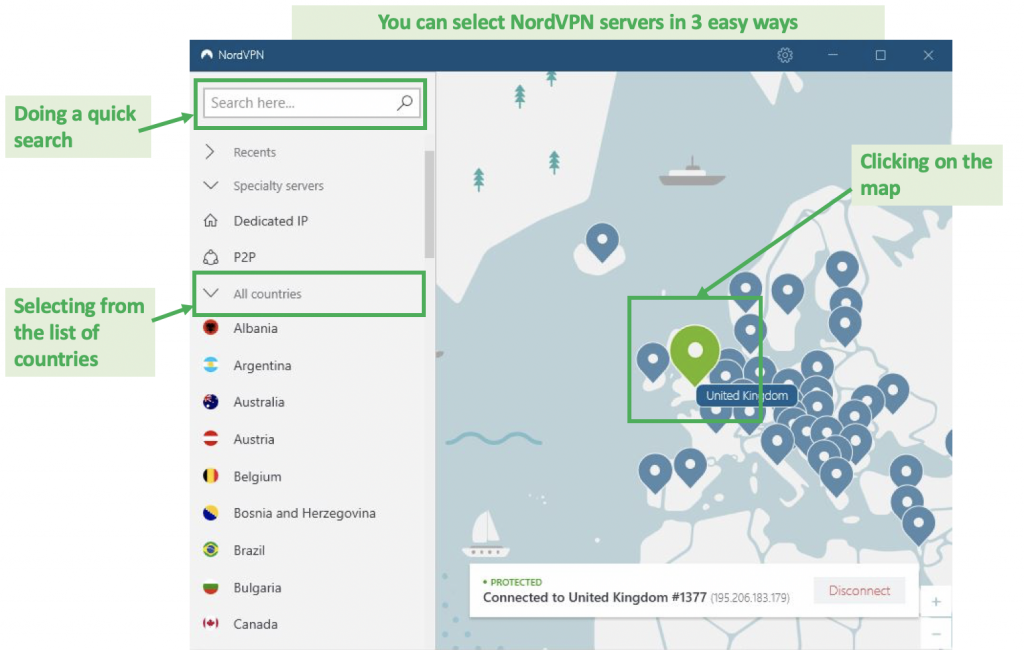 screenshot of nordvpn interface with easy ways to choose server locations
