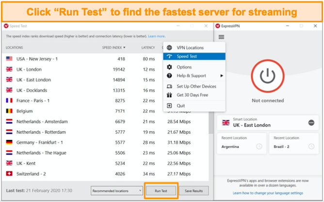 ExpressVPN's speed test helps you choose the fastest server.