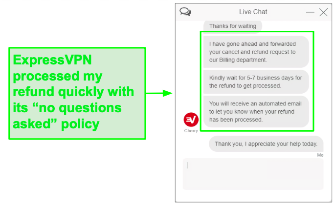 Easily get a full refund with ExpressVPN.