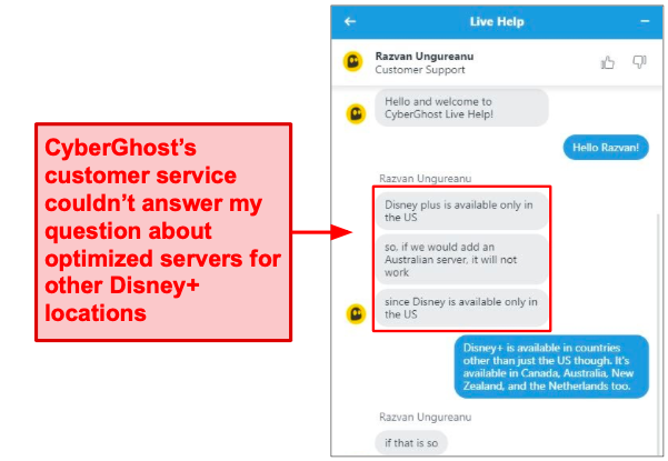 CyberGhost customer service representatives couldn't answer my questions about adding more Disney+ optimized servers.
