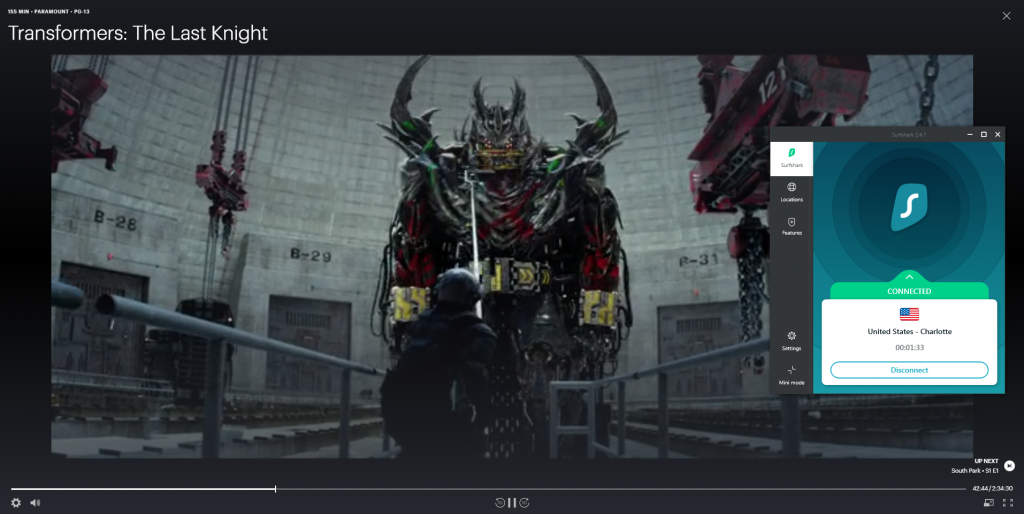 Screenshot of Hulu streaming Transformers with Surfshark connected to a US server