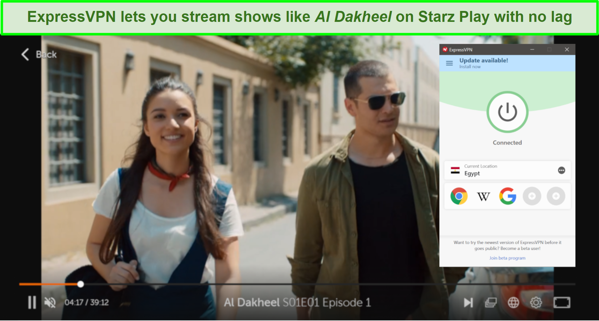 Screenshot of Al Dakheel on Starz Play playing with Expressvpn connected