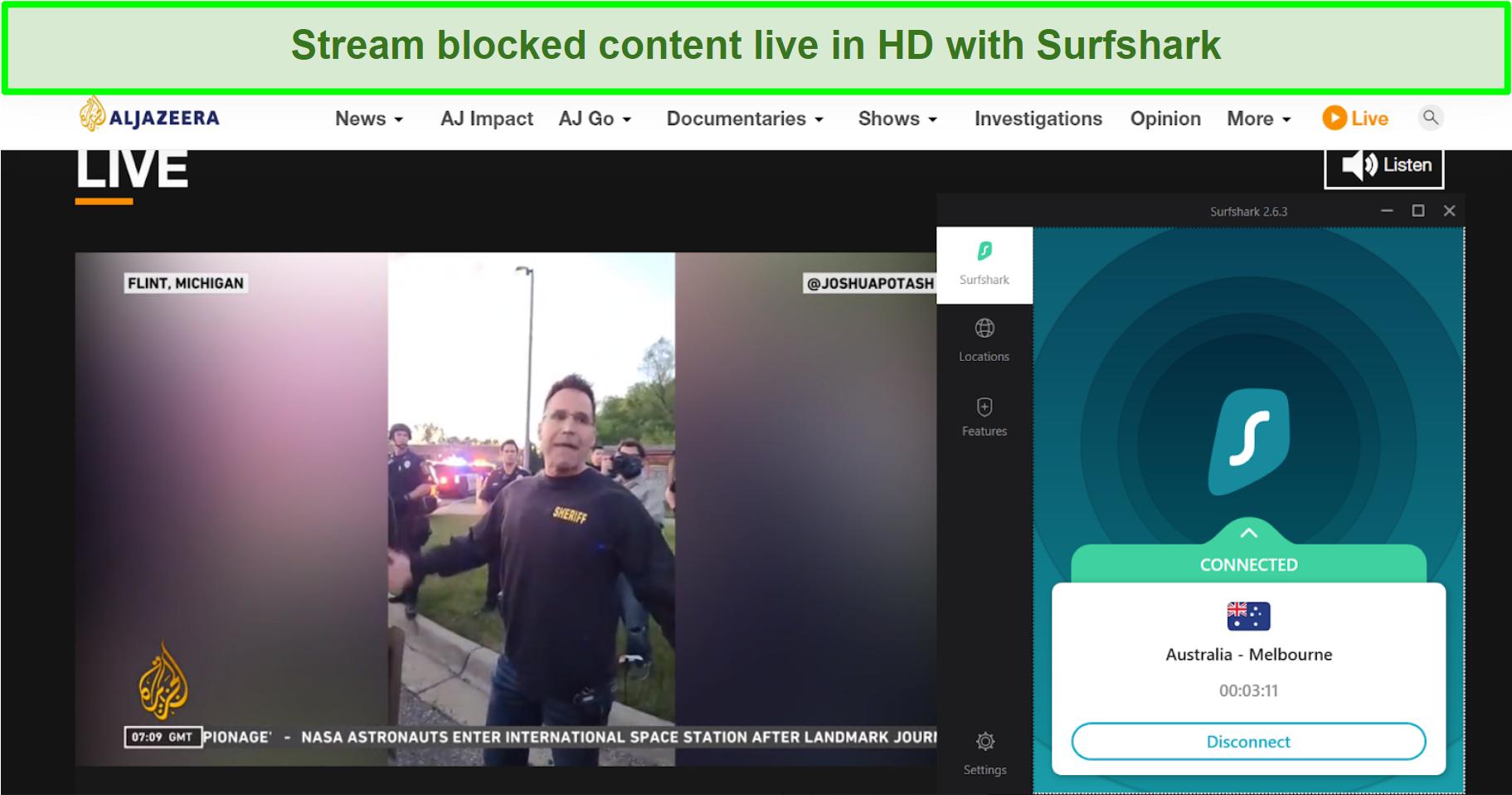 Screenshot of Al Jazeera news live playing and Surfshark connected