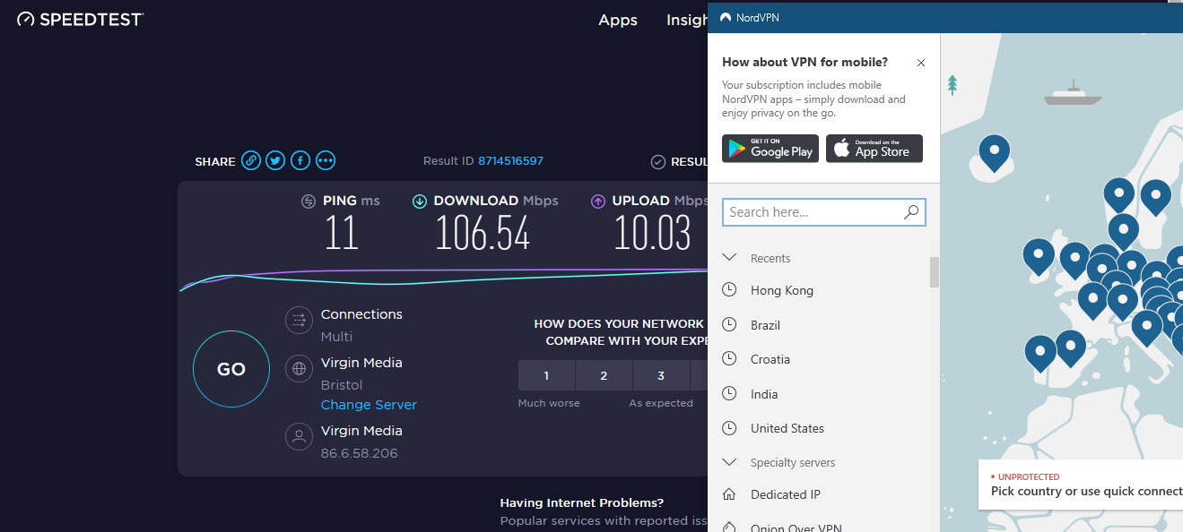 Internet Speed Test without NordVPN