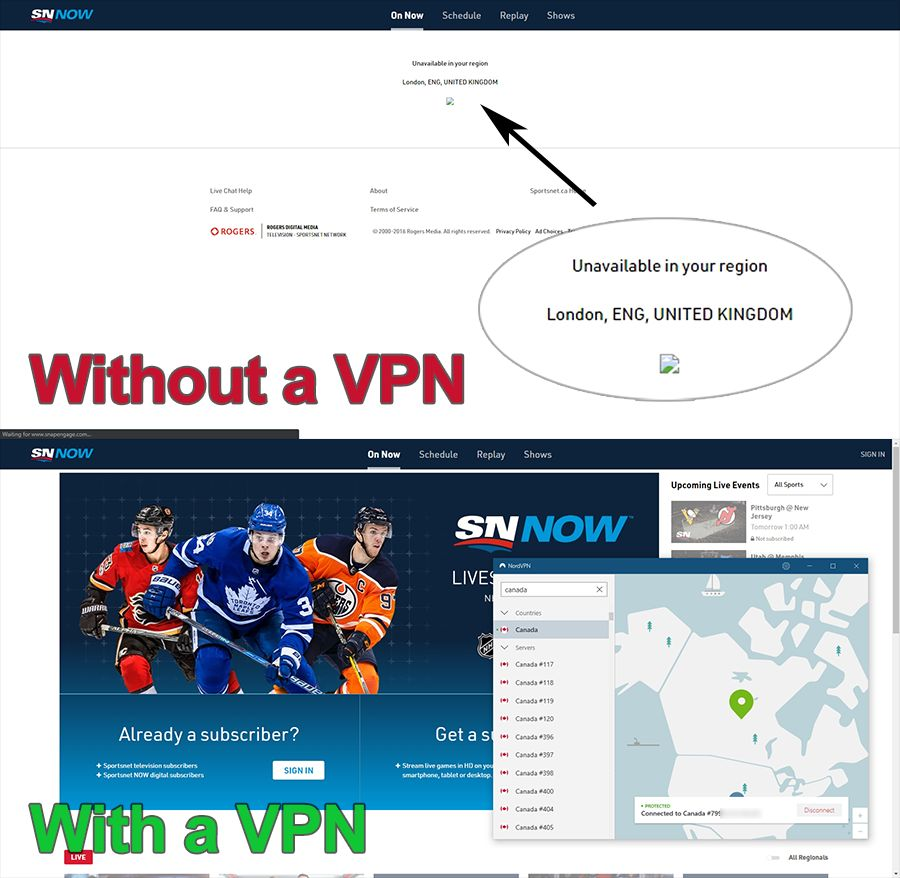 using nordvpn to watch sports on sportsnet canada
